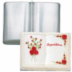 OPEN BOOK SHAPED CAKE TIN PAN MOULD CHRISTENING GRADUATION  cakepins.com