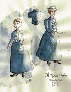 The Miracle Worker (Annie Sullivan). Costume design by Joscelyne Oktabetz. The Miracle Worker, Costume Design Sketch, Theatre Costumes, Sketches, Helen Keller, Annie, Opera, Film, Sewing