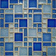 Crackle Glass Mosaic Wall Blue Pool Tile Kitchen Backsplash Random Bath Tiles