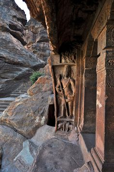 Entrance to Badami Cave Temples, Karnataka / India (by Sivaraj Mathi).