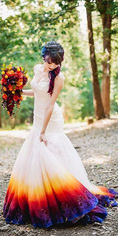 70+ Colorful Wedding Dresses Inpirations You Should Consider