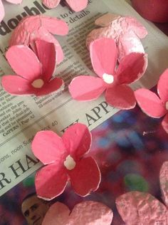How to Make Cherry Blossoms From Egg Crates, something to do with the kids                                                                                                                                                      More