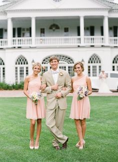 a wedding like this..LOVE the color of the bridesmaid dresses