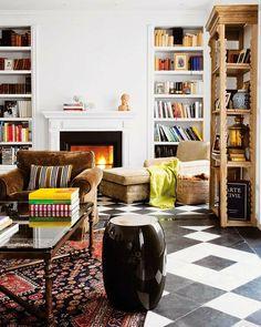 Fireplace + built-ins + bookcase + decor
