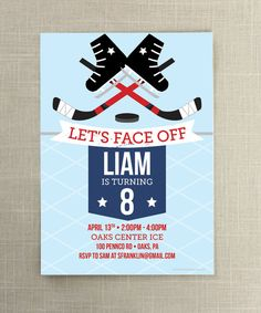 What kind of parties do all the cool kids have - Ice Hockey birthday parties! Hit the ice with this fun hockey themed invite. Perfect for all those budding NHL players out there!      • • • • • HOW IT WORKS • • • • • 1. PURCHASE: Click the add to cart button and make your payment    2. DETAILS: Leave the details in the note to seller section at check out:  - Wording you would like (Name(s), Date of Party, Location, RSVP info)    3. PROOF: I will email you a digital proof within 24 hours for…