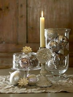 TO DO: Recreate this elegant look in holiday decor...I actually have most of the pieces but in burnished gold fabric, pewter beaded placements, and silver ornaments...might need to spray paint a mini candelabra from my stash