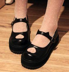 Kawaii sweet lolita cat ear platform shoes Love these! Dr Shoes, Sock Shoes, Me Too Shoes, Flat Shoes, Kawaii Shoes, Kawaii Clothes, Aesthetic Shoes, Aesthetic Clothes, Kawaii Fashion