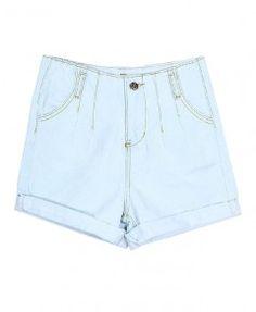 High Waist Denim Shorts in Light Blue Wash
