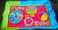 PACK OF SIX  Tropical Luau Fun In The Sun Plastic Party Serving Trays Platters