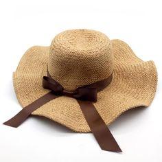 90ad50ae000 FuzWeb Elegant fashion sun hats for women bowknot wide large brim Wave edge straw  hat