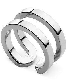 ck Calvin Klein Ring, Silver-Tone Open Ring