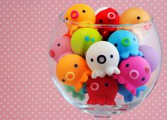 These are called Takochu. Cute little Octopus figures! I think you can get them at Kawaii Shop Japan. But I hope there are other places to get them! Cute Polymer Clay, Cute Clay, Fimo Clay, Polymer Clay Charms, Polymer Clay Creations, Fimo Kawaii, Kawaii Cute, Kawaii Stuff, Kawaii Shop