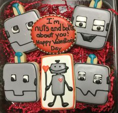 Robot Decorated Sugar Cookies by I AM the Cookie Lady