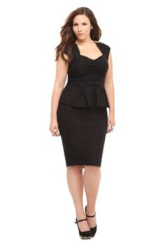 Stop Staring! - Black With Gold Beads Peplum Icon Dress