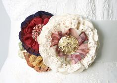 Vintage Button Flower Pin - Cranberry Red, Gold and Ivory