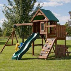 Swing-N-Slide Playsets Knightsbridge Wood Complete Swing Set-PB - The Home Depot - Beto - Re-Wilding Backyard Swing Sets, Kids Backyard Playground, Backyard Playset, Playground Set, Backyard For Kids, Kids Playset Outdoor, Backyard Ideas, Kids Outdoor Swing Set, Playset Diy