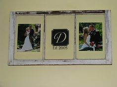 Monogram - put a number in there for anniversary number & then two of your favorite pictures for that year.