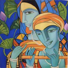 Krishna Radha Indian Art Handmade Modern Hindu Oil on Canvas Wall Decor Painting