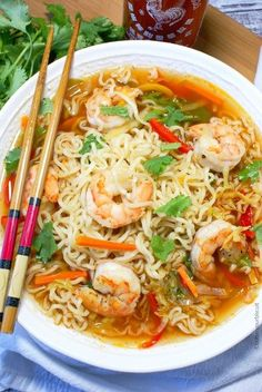 ramen noodle recipes This spicy shrimp ramen bowl recipe brings a cheap meal to the next level. Fresh veggies and tender shrimp really puts it over the top. Seafood Recipes, Soup Recipes, Dinner Recipes, Cooking Recipes, Budget Cooking, Asian Recipes, Healthy Recipes, Ethnic Recipes, Korean Recipes