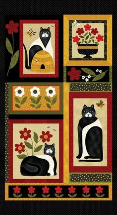 """Cat for All Seasons Fabric Panel 24"""" x 44"""" For Quilt or Craft."""
