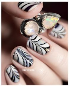 Black, white and holographic (dry) watermarble