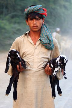 Shepherd with twins, Faisalabad, Pakistan, 2008, photograph by Amir Mukhtar.