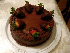 Double Chocolate Cake with Chocolate-covered Strawberries