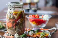 Pickled vegetables by Greek chef Akis Petretzikis. Learn how to pickle vegetables properly and preserve them by pickling them with this quick and easy recipe! Greek Recipes, Kitchen Hacks, Quick Easy Meals, Fresh Rolls, Preserves, Pickles, Yummy Food, Vegetables, Cooking