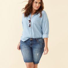 Inspiration Gallery | Stitch Fix Style...love the bermudas since my legs are so fat I don't like the long sleeve denim though too hot for Florida