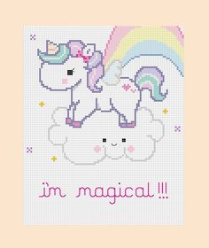 PDF Pattern Magical Unicorn Cross Stitch Pattern by mydarlingplum