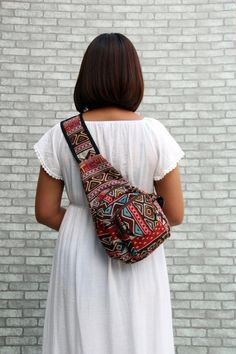 Your place to buy and sell all things handmade Sling Backpack Purse, Backpack Pattern, Crossbody Bag, Mini Mochila, Go Bags, Black Exterior, Mini Purse, Red And Blue, Boho Fashion