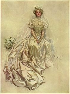 Harrison Fisher created this bridal illustration in 1909.