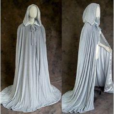 Lined Grey-Grey Velvet Cloak - Medieval Renaissance Victorian Costume by Artemisia Designs