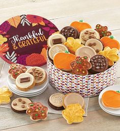 This fall, send a cookie gift to all of your friends. Cheryl's fall-themed cookies and treats are the sweetest way to send a message during the autumn season. Fall Decorated Cookies, Fall Cookies, Cut Out Cookies, Peanut Butter Frosting, Cookie Frosting, Buttercream Frosting, Pumpkin Butter, Butter Pecan, Tin Gifts