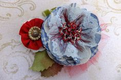 Shabby Chic Boho Brooch Pin Corsage Tulle Lace by MsLolaCreates, $24.00