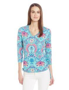 Caribbean Joe Women's 3/4 Sleeve Side Rouch Shirt