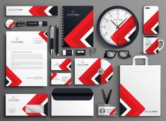 Red professional business branding stationery set vector image on VectorStock Business Branding, Business Card Logo, Business Card Design, Corporate Branding, Creative Business, Stationery Items, Stationery Design, Brand Identity Design, Corporate Design