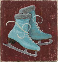 Darling Ice Skates. Handpainted illustration by ©Phil. Represented by i2i Art Inc. #i2iart