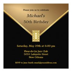 Custom Elegant Gold Black Birthday Party Invitations created by th_party_invitations. This invitation design is available on many paper types and is completely custom printed. 50th Birthday Party Invitations, Gold Birthday Party, 50th Party, 1st Birthday Parties, 55th Birthday, Birthday Ideas, Zazzle Invitations, Black Gold Party, Invitations