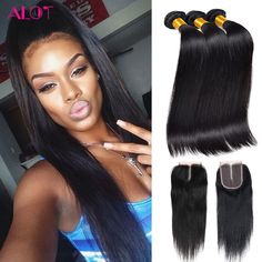 Malaysian Virgin Hair With Closure Grade 8A Malaysian Straight Hair With Closure Cheap Human Hair Weave With Closure And Bundles ** Details on product can be viewed by clicking the image