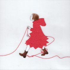 『誰かにつながる赤い糸 9』(シリーズ作品) アクリル絵具・トレーシングペーパー 15cm×15cm