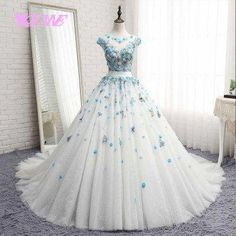 Cheap vestido de noiva, Buy Quality vestido de noiva plus directly from China de noiva Suppliers: Melice New Arrival Appliques Flowers Ball Gown Wedding Dress 2017 O-neck Beaded Pearls Wedding Gown Vestido de Noiva Plus Size Quince Dresses, Ball Dresses, Ball Gowns, Evening Dresses, 15 Dresses, Elegant Dresses, Pretty Dresses, Classy Gowns, Dress Outfits