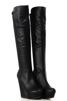 Buy Black Two Tone Faux Leather Over the Knee Platform Wedge Boots with cheap price and high quality from Cicihot Boots stores which offers Boots,women's winter boots,high heel boots,over the knee boots,thigh high boots. Brown Knee High Boots, Thigh High Boots Heels, Over The Knee Boots, Black Boots, High Heels, Skirts With Boots, Skirt Boots, Lace Up Wedge Boots, Mode Rock