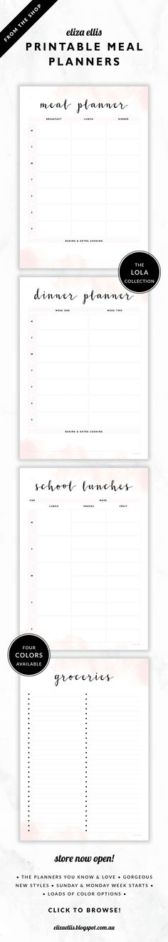 Printable Meal Planners, Dinner Planners, School Lunch Planners and Grocery Lists – Monday and Sunday week starts // The Lola Collection by Eliza Ellis. Delicate watercolor design with pretty hand drawn calligraphy font. Available in 4 colors – lilac, viola, snowdrop and peony. Documents print to A4 or A5.