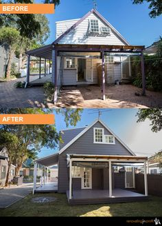 39 Ideas For House Facade Renovation Landscaping Renovating For Profit, Before After Home, House Makeovers, Cottage Porch, 1950s House, Colorado Homes, Exterior Makeover, House Elevation, Exterior House Colors