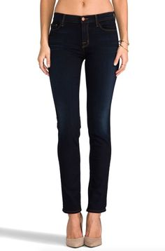 J BRAND Midrise Rail Slim Ankle Skinny Jeans Pants in Atlantis Dark Blue 32 $218 #JBrand #SlimSkinny
