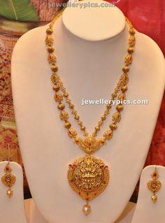 Latest Gold Haram with Lakshmi Devi Locket by Manepalli hyderabad - Latest Jewellery Designs Indian Gold Jewellery Design, Jewellery Designs, Necklace Designs, Gold Jewelry, India Jewelry, Gold Necklaces, Temple Jewellery, Gold Haram Designs, Small Necklace