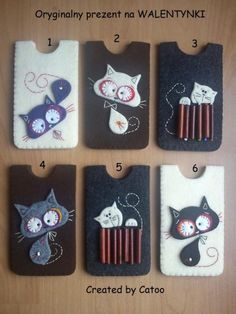 telefoonhoesjes van vilt met katjes, erg leuk om te maken met de coole katjes !