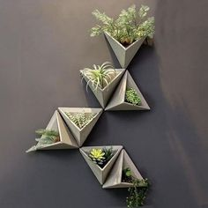 Cement Triangular Wall Vase This 3 dimensional triangular vase is the ideal way to make a plain wall pop. This attractive modern geometric design is the original vase with a simple, elegant design that can be used to add a modern decorative to House Plants Decor, Plant Decor, Home Crafts, Diy Home Decor, Cement Walls, Concrete Cement, Concrete Crafts, Wall Design, Cement Design