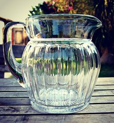 Beeyooteeful!!!!  Heisey Narrow Flute Clear Glass 48oz Pitcher Pattern 393. $40.00, via Etsy.